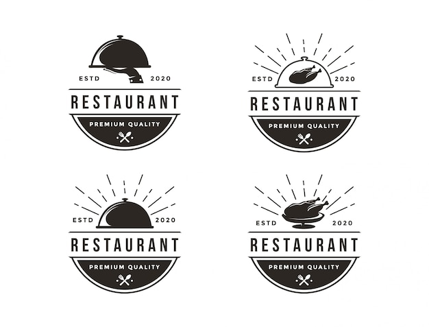 Restaurant logo set, food service logo icon set template