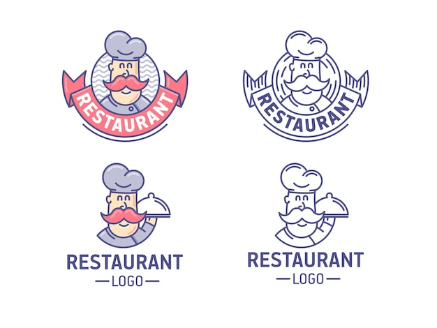 Набор логотипов ресторана. ретро логотип с шеф-поваром.