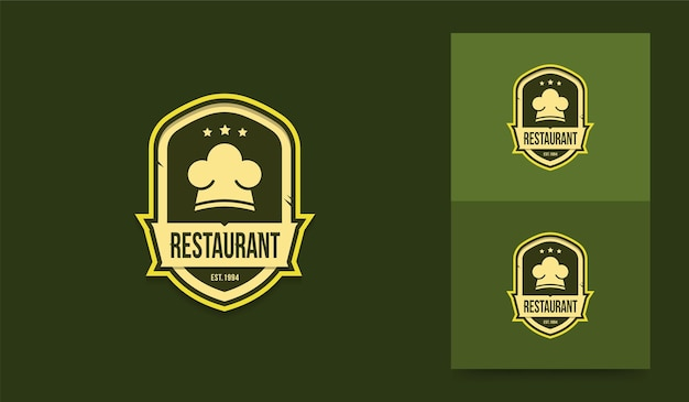 Ресторан логотип шаблон логотипа шеф-повара в винтажном стиле