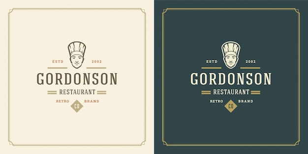 Шаблон логотипа ресторана шеф-повар лицо человека в шляпе силуэт, подходящий для меню ресторана