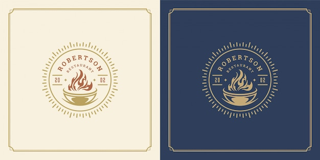 Restaurant logo template illustration barbecue grill with flame symbol and decoration good for menu and cafe sign