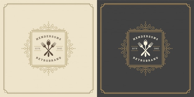 Restaurant logo template illustration fork and spoon symbol and ornament swirls good for menu and cafe sign.