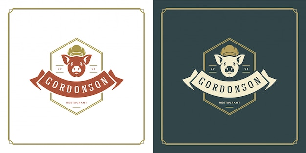 Restaurant logo template illustration pork head in chef hat symbol and decoration good for menu and cafe sign.