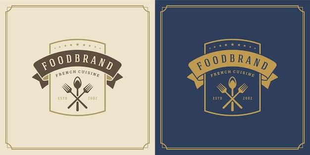Ресторан логотип шаблон векторные иллюстрации кухонные инструменты силуэты