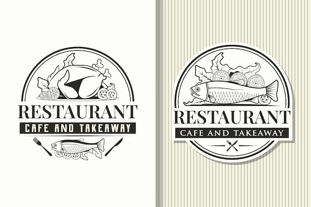 Restaurant logo templates and vintage labels
