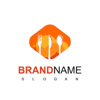 Restaurant logo vector with spoon, fork and knife silhouette symbol