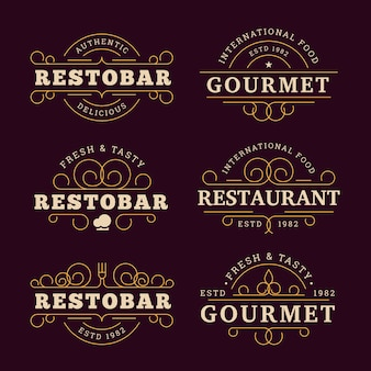Restaurant logo with golden design