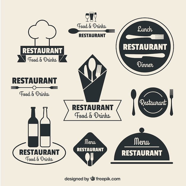 Ресторан логотипы в плоской конструкции