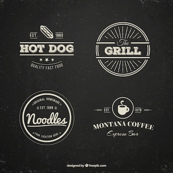 Restaurant logos pack in vintage style