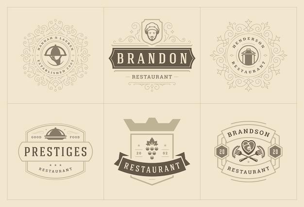 Шаблоны логотипов ресторанов устанавливают иллюстрацию, подходящую для этикеток меню и значков кафе.
