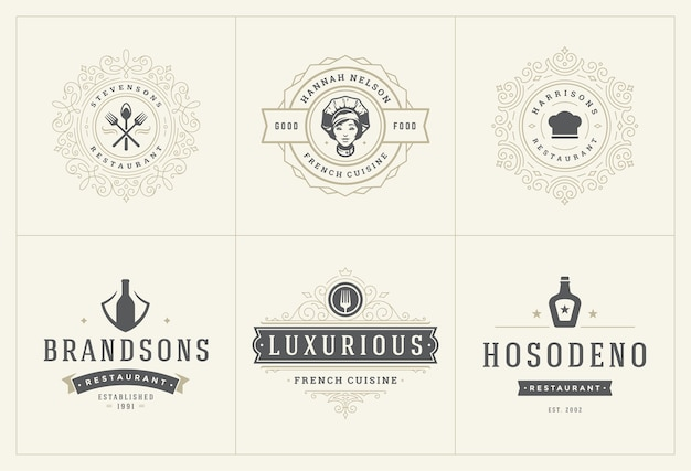 Restaurant logos templates set  illustration good for menu labels and cafe badges.