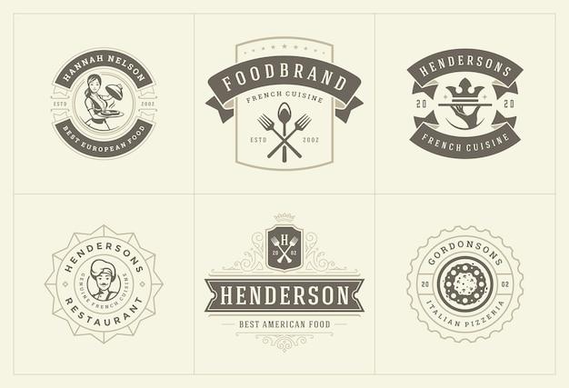 Шаблоны логотипов ресторанов устанавливают векторные иллюстрации, подходящие для этикеток меню и значков кафе