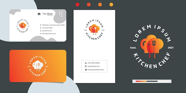 Restaurant love cooking logo design and business card