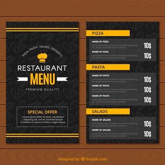 Restaurant menu, black and yellow colors