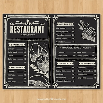 Menu del ristorante in stile lavagna