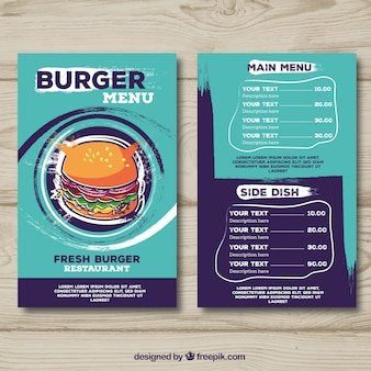 Restaurant menu, burger