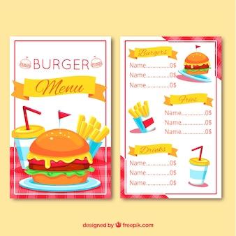 レストランメニュー、ハンバーガー