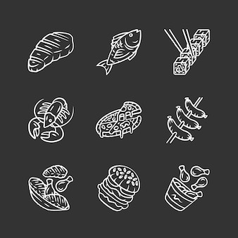 Restaurant menu chalk icons set