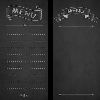 レストランメニュー、黒板にチョーク。ビンテージデザイン、手描きスタイル