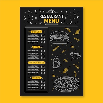Restaurant menu concept for template