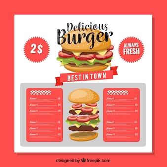 レストランメニュー、美味しいハンバーガー