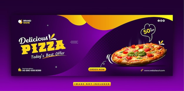 Restaurant menu and delicious fastfood pizza social media facebook cover and web banner template