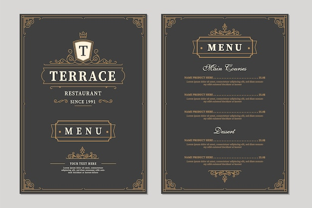 Restaurant menu design. brochure template for cafe, coffee house, restaurant, bar. food and drinks logotype symbol design. vintage background