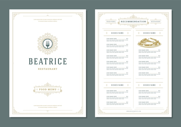 Restaurant menu design and label vector brochure template.