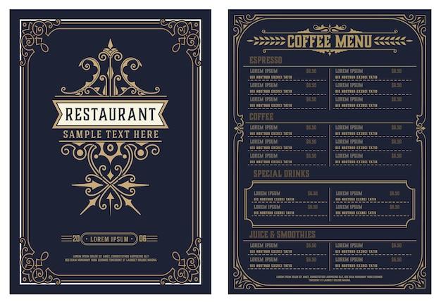 ビンテージロゴのレストランメニューデザインベクトルパンフレットテンプレート