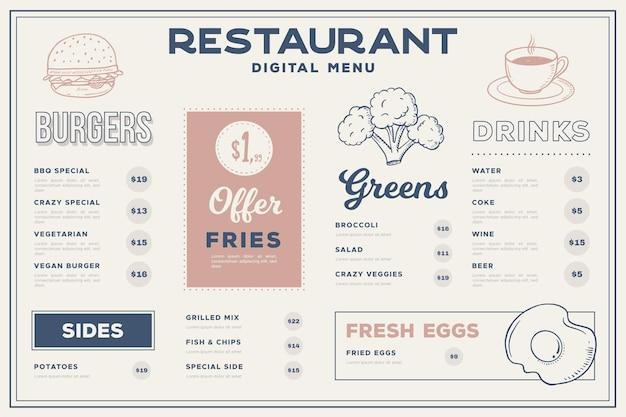 Menu ristorante per piattaforma digitale in formato orizzontale con illustrazioni