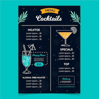 Restaurant menu for digital platform in vertical format