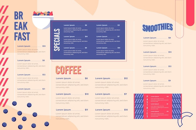 Restaurant menu for digital platform