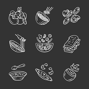 Restaurant menu dishes chalk icons set