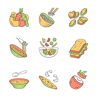 Restaurant menu dishes icons set.