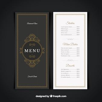 レストランメニュー、エレガントなスタイル