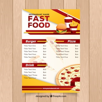 Restaurant menu, fast food