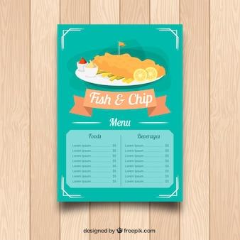 Restaurant menu, fish and chips