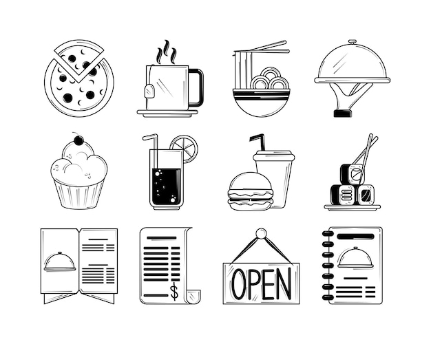 Restaurant menu food drinks service icons set in line style