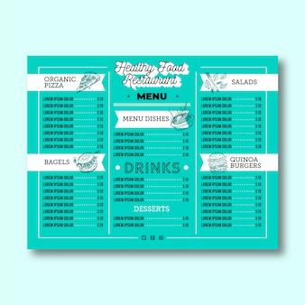Restaurant menu for fresh healthy food