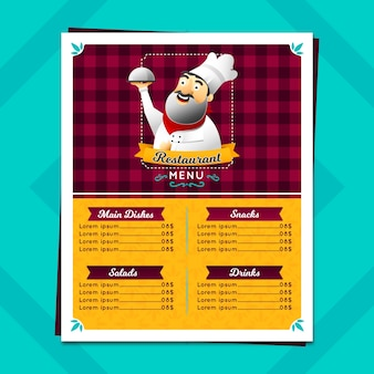 Restaurant menu in gradient style with chef