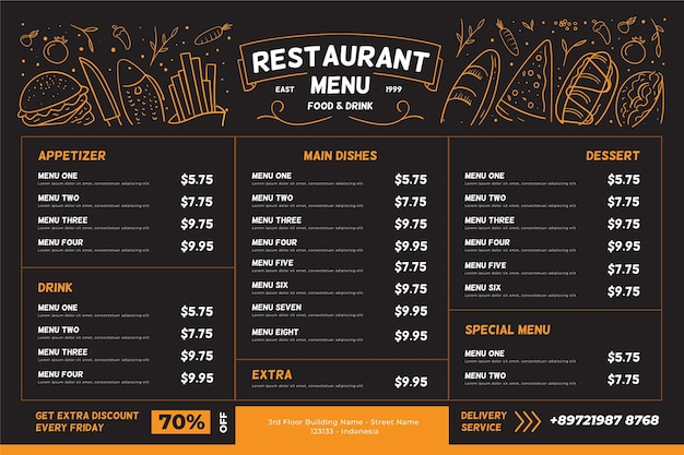 Restaurant menu horizontal format