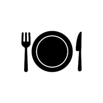 Restaurant menu icon in black. plate with fork and knife. dinner icon. food sign. lunch logo. vector on isolated white background. eps 10.