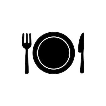 黒のレストランメニューアイコン。フォークとナイフでプレートします。夕食のアイコン。フードサイン。ランチのロゴ。孤立した白い背景の上のベクトル。 eps10。