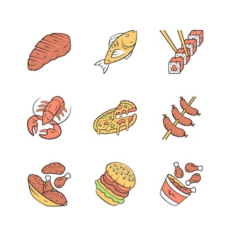 Restaurant menu icons set.
