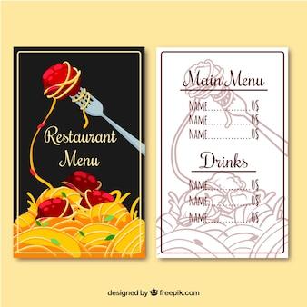Меню ресторана, макаронные изделия