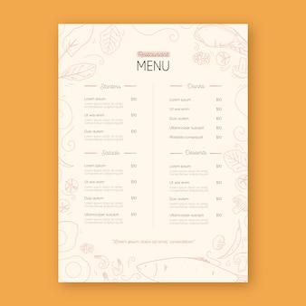 Шаблон печати меню ресторана