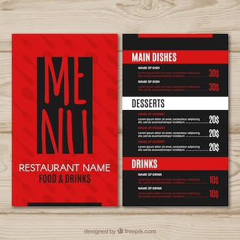 레스토랑 메뉴, 빨간색과 검은 색