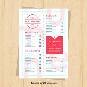 레스토랑 메뉴, 빨간색과 파란색