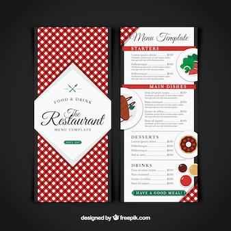 レストランメニュー、赤いテーブルクロス