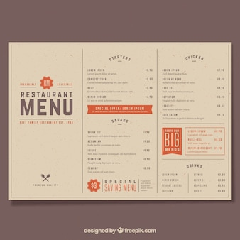 Restaurant menu, retro style